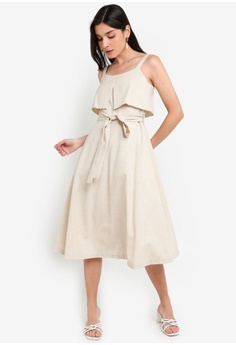 369eb01df6070 Dressing Paula beige Cotton-Blend Belted Dress 532C3AA4496700GS_1