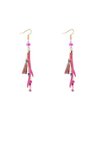Urban Outlier pink Bohemia Pink Tassel Long Chain Earrings 789C1AC8648A3AGS_1