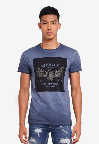 Indicode Jeans 海軍藍色 短袖圖案印花T恤 F0527AA4CC5BFFGS_1
