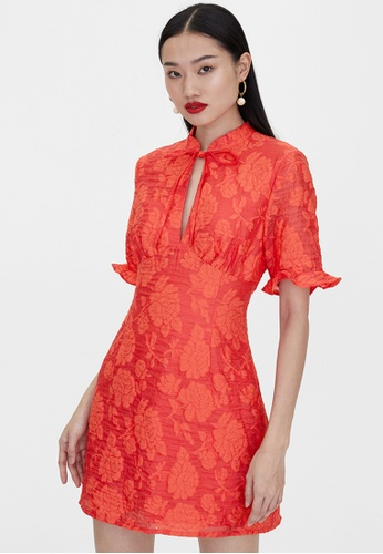 Pomelo red Tie Neck Ruched Dress - Red 6BF2DAAC6264A5GS_1