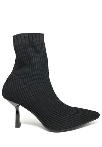 Twenty Eight Shoes 黑色 飛織紐紋金屬踭踝靴115 736E4SH462D491GS_1