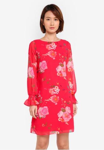 Wallis pink Petite Floral Shift Dress 9285FAA8865F40GS_1