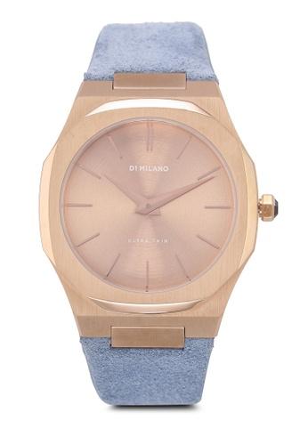 D1 Milano 藍色 and 金色 行針設計手錶 D412DACB612324GS_1