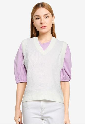 ONLY white Adalee V-neck Vest AB3FDAAC75976DGS_1