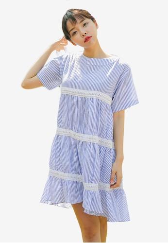 韓系時尚蕾絲條紋寬擺連身裙, 服飾, 印花時esprit 羽絨外套代