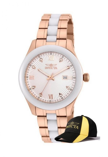 INVICTA white Invicta Specialty Men 42mm Case Rose Stainless Steel, Ceramic Strap Dial Quartz Watch 18155 with  Cap EBC89AC969B1B2GS_1