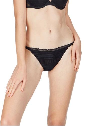 6IXTY8IGHT black Soren Solid, Ruched Tanga Bikini Brief PT10094 D6C06US240A097GS_1