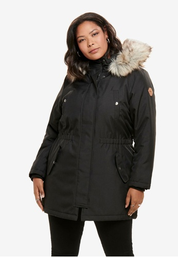 Only CARMAKOMA black Plus Size Irena Parka Coat DF63BAA8AF40A0GS_1