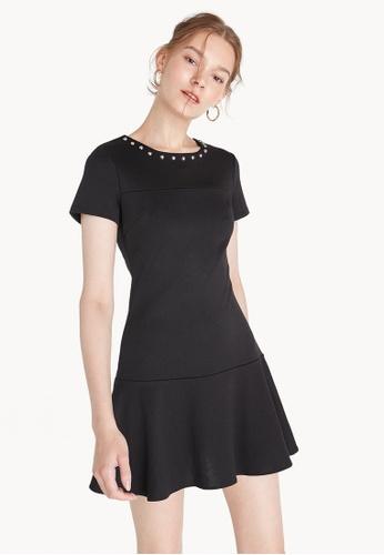 Pomelo black Beaded Neck Ruffle Dress - Black F7D89AA6931112GS_1