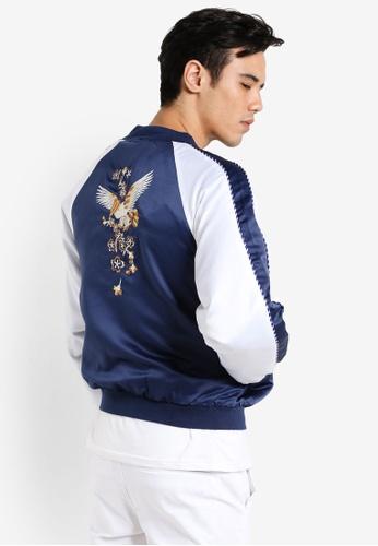 Flesh IMP navy Golden Eagle Embroidered Jacket FL064AA77FCSMY_1
