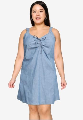 Vero Moda blue Plus Size Akela Chambray Flounce Dress 34ABBAABB3D699GS_1