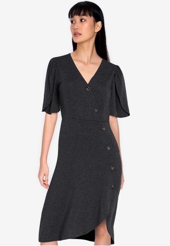 ZALORA BASICS grey Tulip Sleeves Asymmetric Tea Dress 40DC9AAD203166GS_1