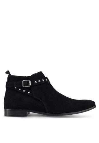 Topman black Black Faux Suede Fisco Stud Boots A6192SH15BB400GS_1