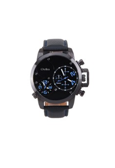 Oulm Dual Time Movements Quartz Wrist Watch