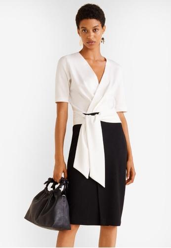 Mango white Bow Bicolor Dress EDF13AA1627ACAGS_1