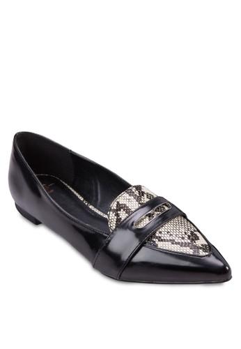 Cathy esprit tw蛇紋拼接尖頭平底鞋, 女鞋, 鞋