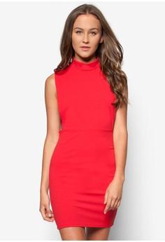 High Neck Open Side Bodycon Dress