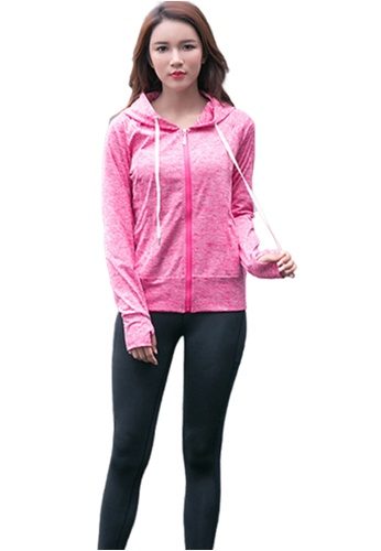 B-Code red ZYG3094-Lady Quick Drying Running Fitness Yoga Sports Jacket -Red F4B60AA21ADA6FGS_1