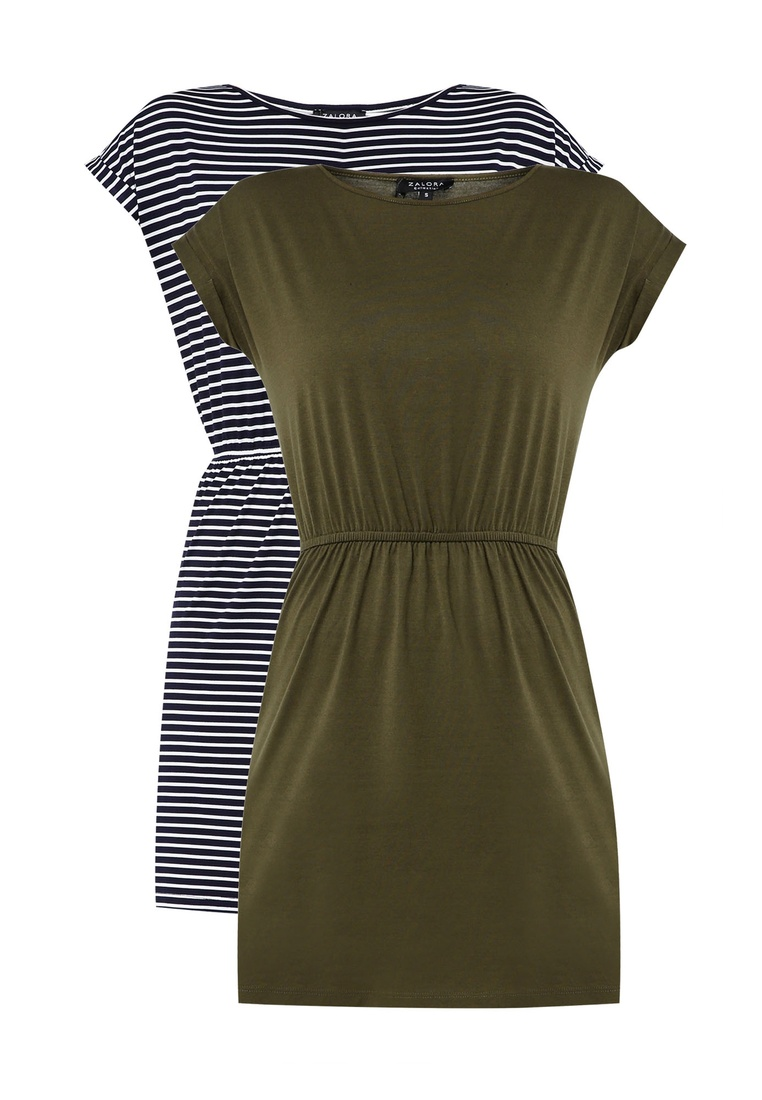 2 Dark with Stripe ZALORA Dress pack Shirt BASICS Basic T Gathered Navy Green Waist White r8rvqR