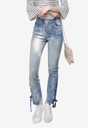 Eyescream blue Side Lace Up Jeans CC0B7AAFE2478DGS_1