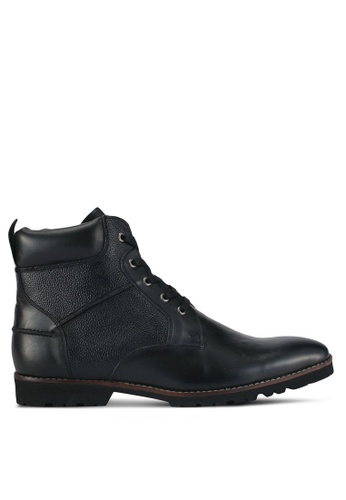 ACUTO black Textured Leather Boots AC283SH0SL6IMY_1