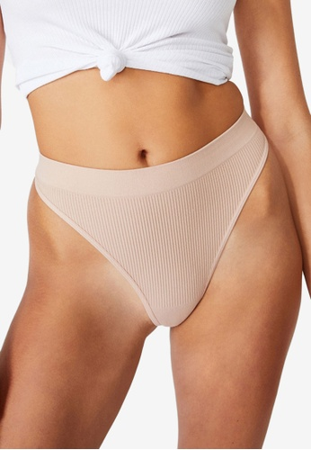 Cotton On Body brown and beige Seamless High Cut Thong Briefs C19D6US1AECE2EGS_1