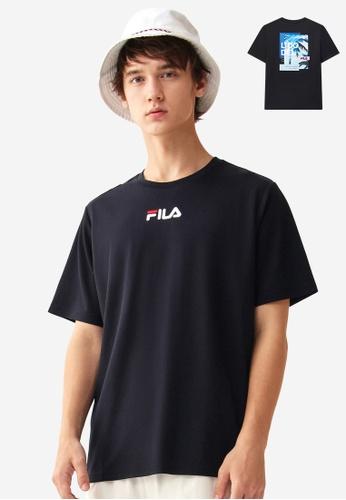 FILA navy Embroidery FILA Logo Palm Tree Print T-shirt 983E2AA0007889GS_1
