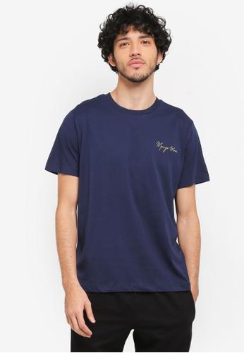 MANGO Man blue and navy Logo Cotton T-Shirt MA449AA0T1E6MY_1