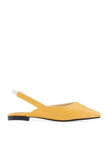 SPUR yellow Square sling back Flats B9C6ASH6A1CD25GS_1