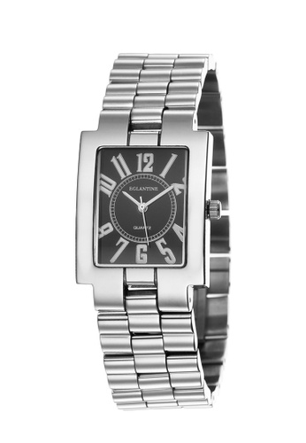 EGLANTINE silver EGLANTINE® Rectangolo Ladies Steel Quartz Watch Black Dial on Steel Bracelet A682FAC80E1911GS_1