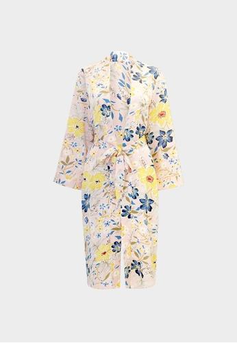 Pomelo pink Bold Floral Print Wrap Kimono - Pink A9DB6AAFB143E5GS_1