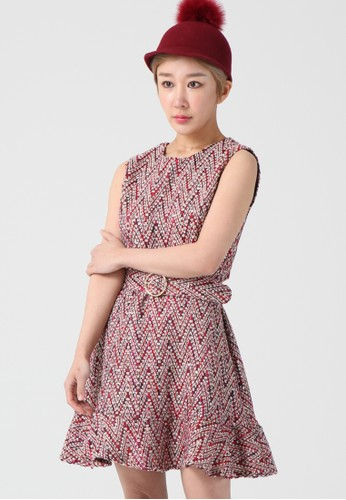 韓流時尚 人字紋無袖連衣裙 F410esprit香港分店地址6, 服飾, 及膝洋裝