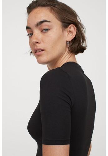 H&M black Cotton jersey top E861DAA51B7AA5GS_1