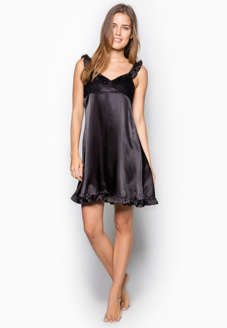 Laces Nightdress Satin Black with Impression wp6Pa7qx