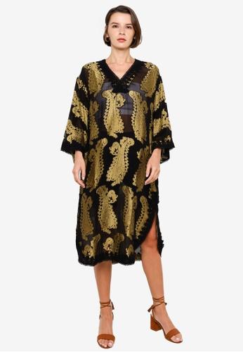 H&M black and multi Jacquard-Patterned Kaftan 99FA9AA2CBAD57GS_1