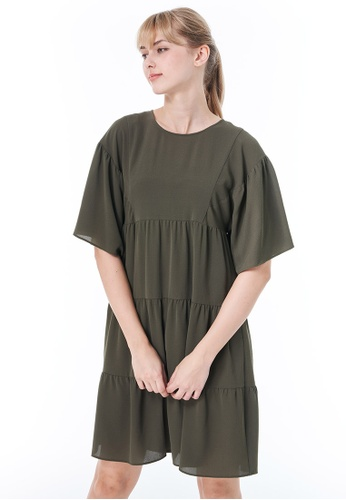 Sisley green Dress with Ruffles 75775AA4A7A576GS_1