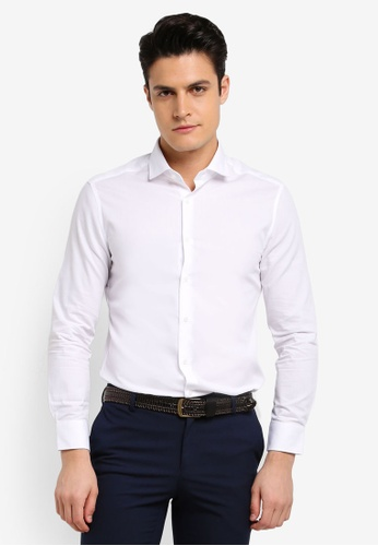 G2000 white Dot Textured Long Sleeve Shirt 4848FAA94A79DAGS_1