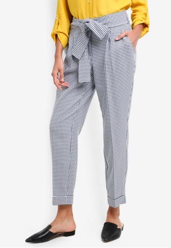 Dorothy Perkins navy Navy Gingham Tie Trousers 0183BAABF43C8CGS_1