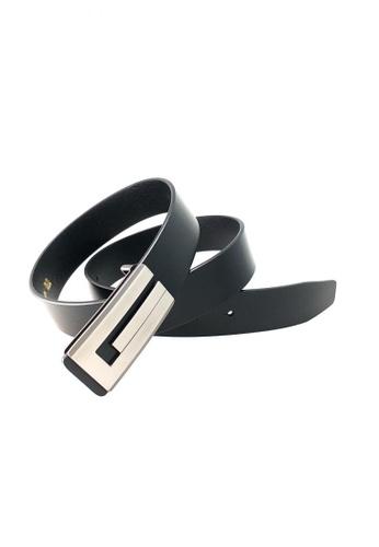 IXACC black Fine Grain Cowhide Leather Belt IX982AC0IK1UPH_1