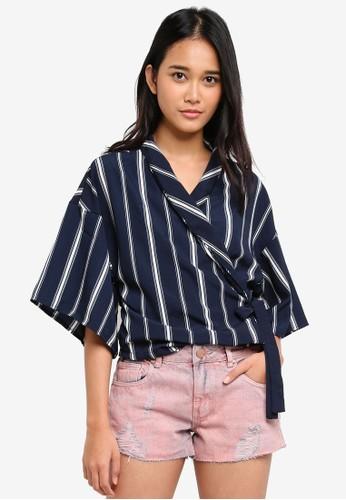 Cotton On navy Kenzi Wrap Kimono Top 0CA2AAAA72B7DFGS_1