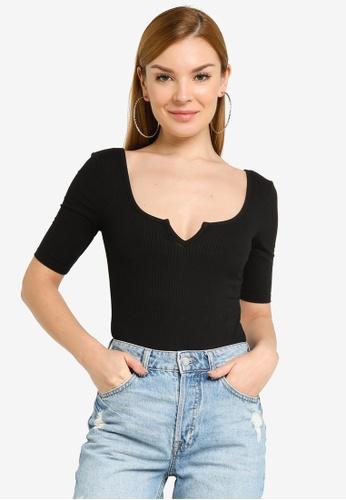 H&M black Ribbed Thong Body BB4AFAA0A7A83CGS_1