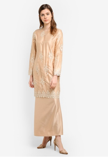 Gene Martino brown Fairy Kurung With Exclusive Glitered Embroidery Blossom Lace GE222AA0S76DMY_1