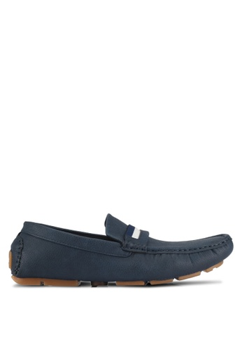 UniqTee 藍色 Slip On Loafer With Strap 62C01SHA9A1CA3GS_1