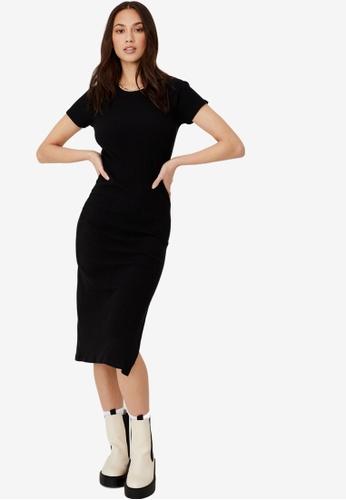 Cotton On black Essential Split Short Sleeve Midi Dress 2355AAAAB8934BGS_1