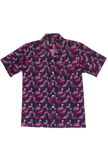 Private Stitch black Private Stitch Full Printed Button Up Flamingo Shirt 410FBAA14167B5GS_1