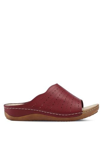 Bata 紅色 雕花楔型涼鞋 F56DESH7E5BF0FGS_1