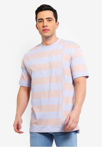 79206ed990 Buy Topman Pink And Blue Stripe T-Shirt Online on ZALORA Singapore