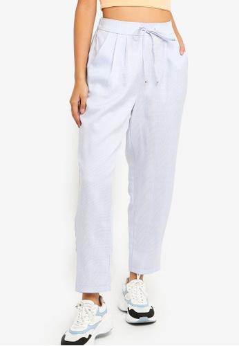 Something Borrowed 藍色 Pleated Straight Leg Pants DC416AAE092E51GS_1