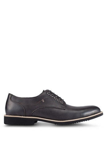 ZALORA grey Faux Leather Brogues D24A8AA4DD89DBGS_1