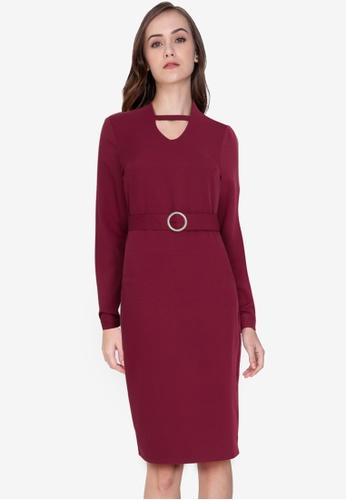 ZALORA WORK red Long Sleeve Dress With Buckle 8A627AAF3FAAFEGS_1
